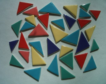34TR - COLORFUL TRIANGLES -  Ceramic Mosaic Tiles Set