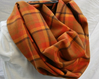Ready To Ship-Orange Yellow Tan Black- Plaid Cotton Flannel Infinity Scarf - Circle Scarf