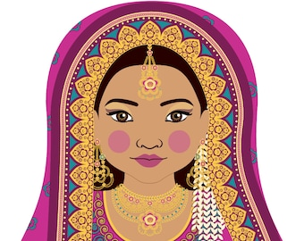 Pakistani Wall Art Print features cultural traditional dress drawn in a Russian matryoshka nesting doll shape