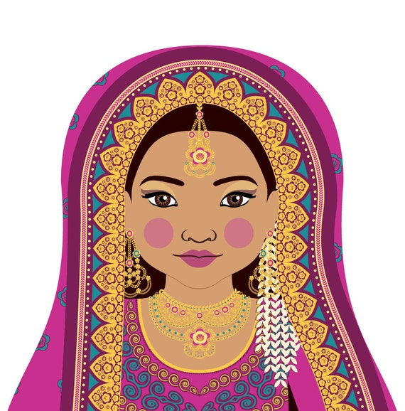 Pakistani Doll Art Print with traditional folk dress, matryoshka