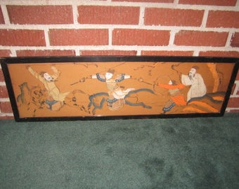 Antique Framed Dramatic Chinese Woodblock Print of Horseback Warriors in Battle