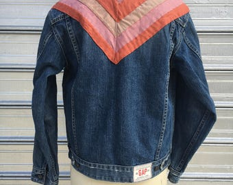 hand dyed backpatch quilting // kids gap XL denim jacket // OOAK patchwork denim coat