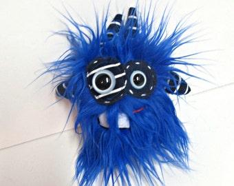 Monster Plush - Handmade Plush Monster - Mini Toy Monster - Blue Faux Fur Monster - Hand Embroidered Weird Toy - Minor Monster - Small Plush