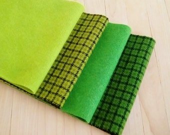 """Hand Felted Wool, Clear Greens, Four  6.5"""" x 16"""" pieces for Rug Hooking, Applique and Crafts"""