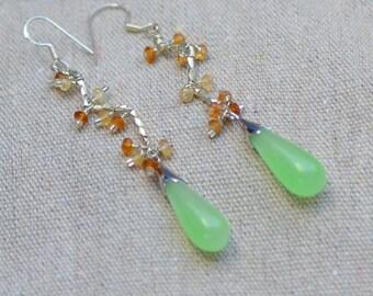 Jade Teardrop Earrings. Sterling Silver Earrings. Genuine Green Jadeite and Hessonite Garnet Gemstone Earrings.