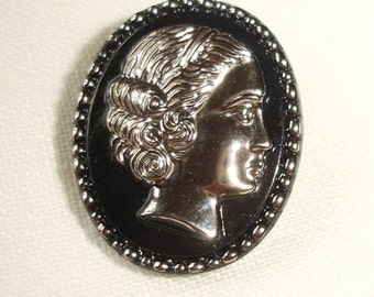 Vintage Black Glass Button with Silver Luster female head - great Silver luster lady button