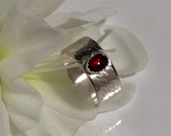 Garnet Ring on Wide Sterling Band, Red Stone