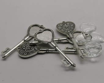 KEY Bezel with 20mm HEART GLASs Magnifying Domes Cabochon - 5 sets 10 pcs  - 69mmx24mm Antique Silver - KB11 We are USA Seller