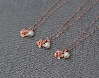 Bridal Party Necklace, Rose Gold Bridesmaid Gift Set of 3, Bridesmaid Flower Jewelry, Rose Gold Bridesmaid Set