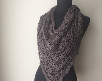 Eco Friendly boho scarf A Bit of Lace Scarf Shawl in Pewter Cotton Hemp Modal Blend Yarn Made to Order