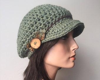 Slouchy Newsboy Cap Hemp Wool Sage leaf Fairy cap Woodland hat Hippie Boho tree branch button forest fae ready to ship