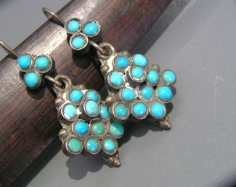 Vintage Silver  Earrings . Tribal Silver . Turquoise  jewelry