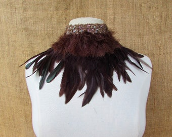 Bead feather collar