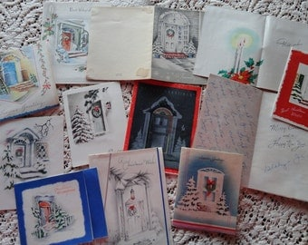Doorways to the Holidays  Welcome Visitors in Vintage Christmas Card Lot No 986 Total of 12 Winter and Holiday Decor
