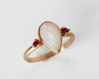 Opal Ring in 14k Yellow Gold - Ruby and Opal Ring - Opal and Ruby Accents - Pear Cut Opal Ring - Flashy Ring - Festive Ring - Christmas Gift