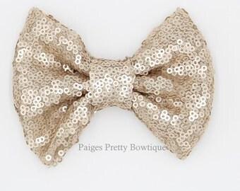 "5"" Rose Gold/Light Tan Sequin Bow-Large Hair Bow-Sparkle Bow-Christmas Bow"