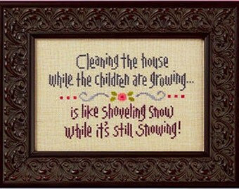 Lizzie Kate Snippet S92 - Cleaning The House - Counted Cross Stitch Chart, Pattern