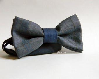 Men bow tie - Plaid bowtie - Italian bowtie - Pre tied bow tie - Made in Italy - Grey, blue, burgundy.