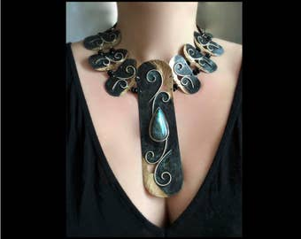 Labradorite Cleopatra meets Art Nouveau bronze and sterling linked collar