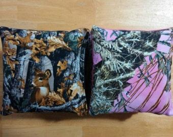 Black and Pink Camo Cornhole Bags -FREE SHIPPING- Cornhole Baggo Bean Bag Toss deer doe hunting camouflage
