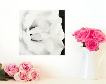 White Rose Art - Black and White Wall Art - Rose Flower Photography - Flower Art - Canvas Wall Art - Photo on Canvas - Black White Print 8x8