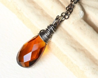 """Madeira Quartz Necklace on Oxidized Sterling Silver - """"Speyside"""" by CircesHouse on Etsy"""
