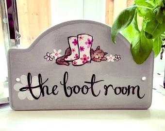 personalised hand painted house plaque, hand painted house number, hand painted ceramic plaque, wellies, cat, grey, hand painted lettering