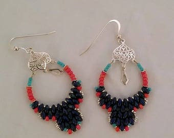 Hand Stitched Blue, Pink and Turquoise Hoop Earrings