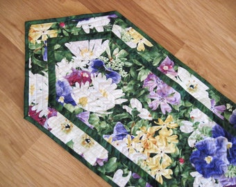 Quilted Table Runner Spring  Summer flowers  yellow Purple green  Quiltsy  Handmade