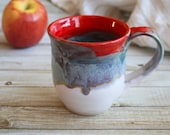 Handcrafted Coffee Cup Dripping Multi Colored Glazes Handmade Pottery Mug Ready to Ship Made in USA
