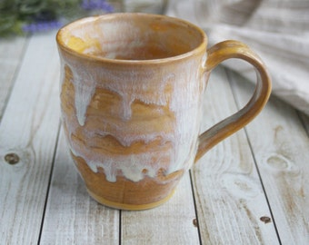 """Handmade Ceramic Mug White and Gold Coffee Cup Rustic Ceramic Tea Cup """"SECOND"""" Sale Ready to Ship Made in USA"""