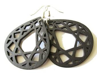 Large Dark Brown Teardrop Geometric Wooden Earrings