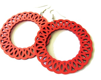 Light Weight Large Red Lace Hoop Wooden Earrings | Big Bold Statement Style Boho Gypsy Earrings | Funky Edgy Colourful Jewellery for Women