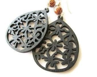 Black Wooden Teardrop and Palm Wood Dangle Earrings | Hippie Boho Jewellery for Women | Lightweight Lazer Cut Earrings | Bohemian Style