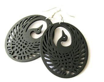 Black Wooden Peacock Bird Earrings
