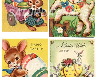 Vintage EASTER Theme Springtime Greeting Cards   INSTANT Download