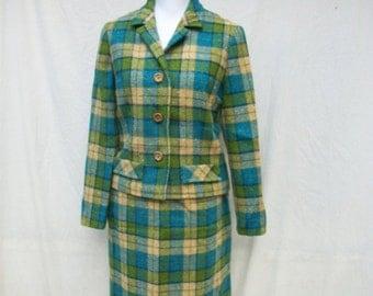 SALE 60s Mod Plaid Suit size Small Blue Green Plaid Jackie O Suit