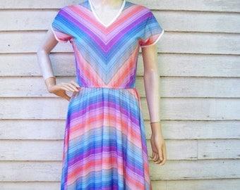 ON SALE 70s Rainbow Stripe Dress size Small Medium Chevron Stripes Colorful