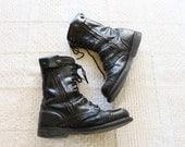 Men's vintage FURY Combat boots / black leather boots / size 9.5 mens boots
