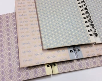 Set of 3 pastel patterned upcycled notebooks