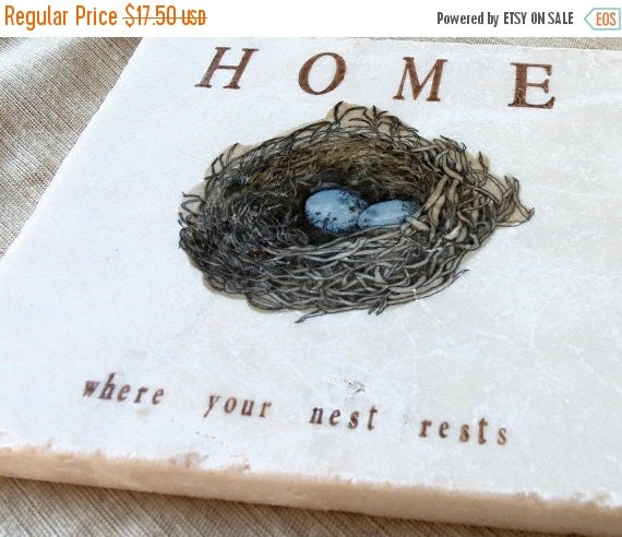 LuckySale Robin's Egg Nest Kitchen Tile Trivet