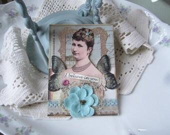 Encouragement Card - Handmade Card - Inspiration Card - Believe Card - Vintage-style Card