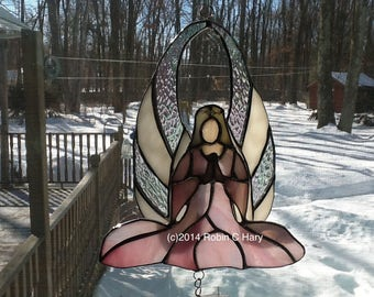 Angel stained glass wind chime