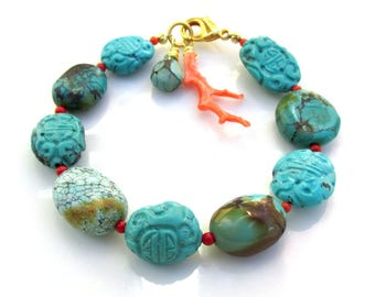 Carved Turquoise Beads and Natural Coral Bracelet - Artisan Handmade Jewelry - NATURAL GEMSTONES