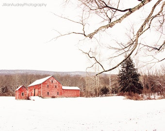 Modern Farmhouse Art, Red Barn Photography, Landscape Photograph, Rural Decay, Abandoned Barn, Farmhouse Wall Decor, Winter Barn, Wall Art