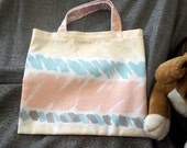 Book Lunch N Small Gift Tote Bag, Horizontal Pastel Stripes Print