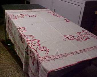 Hand made Cross stitch linen vintage table cloth with red leaf design 46 X 46 ""