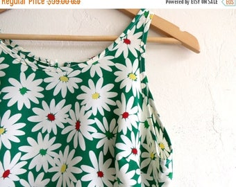 35% OFF SPRING SALE Green Floral Print Summer Dress