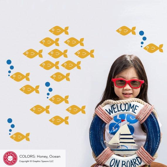 Baby Fish Wall Decals, Ocean Nursery Theme Kids Sea Life Underwater Under the Sea Cute Aquarium Nautical Room Decor: SWIM LEFT