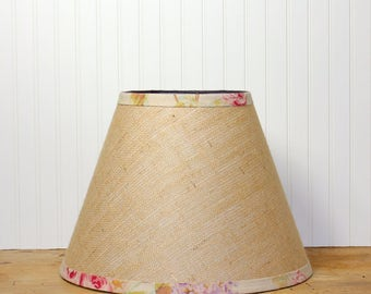 Burlap Lamp Shade - Floral - Empire Lamp Shade - Rustic - Cottage Decor - Farmhouse - Pendant Shade - Sweet!